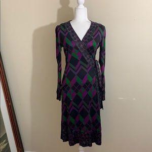 Diane Von Furstenberg 100% Silk Wrap Dress Purple